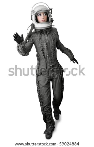 astronaut fashion woman full length space suit helmet isolated on white - stock photo