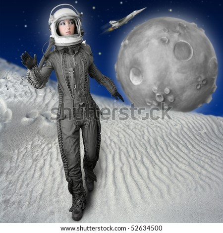 astronaut fashion woman full length space suit helmet moon metaphor [Photo Illustration] - stock photo