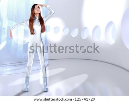 Astronaut futuristic silver woman glass helmet in modern spaceship indoor [ photo-illustration] - stock photo