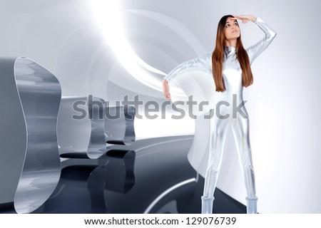Astronaut futuristic silver woman glass helmet in modern spaceship indoor photo-illustration - stock photo