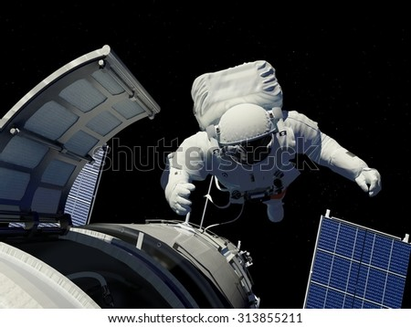 Astronaut goes through the hatch into space. - stock photo