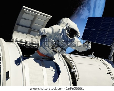 """Astronaut goes through the hatch into space.""""Elemen ts of this image furnished by NASA"""" - stock photo"""