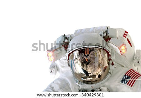 Astronaut helmet isolated on white background spaceman outer space suit. Elements of this image furnished by NASA. - stock photo