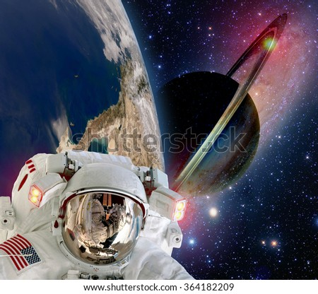 Astronaut helmet spaceman extraterrestrial saturn planet sci fi space travel. Elements of this image furnished by NASA.