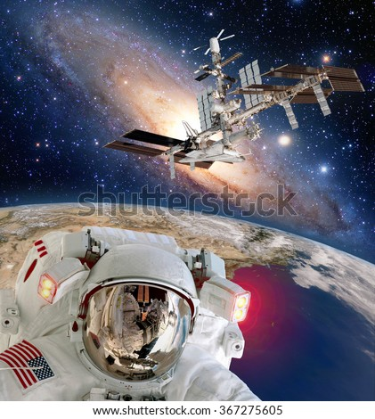 Astronaut helmet spaceman iss planet space walk spacewalk international station. Elements of this image furnished by NASA. - stock photo