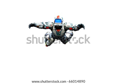 astronaut hero skydiver freestyle white background