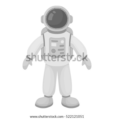 Astronaut icon in monochrome style isolated on white background. Space symbol stock bitmap illustration.