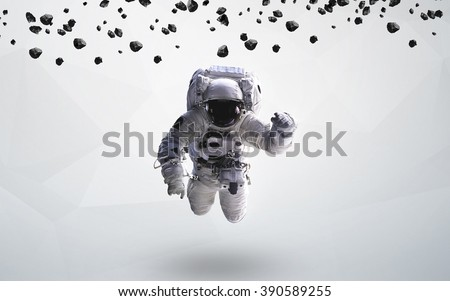 Astronaut in outer space modern art. Elements of this image furnished by NASA. - stock photo