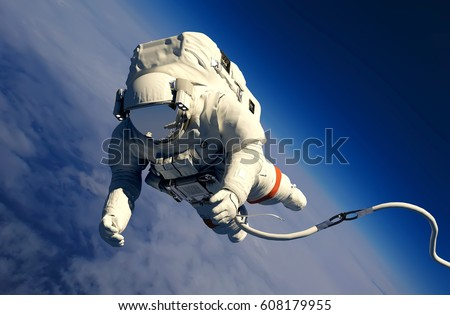 Astronaut in space above the clouds of the Earth.3d render