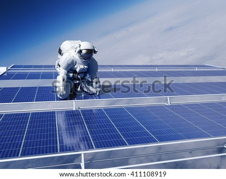 "Astronaut in space above the clouds of the Earth..""Elements of this image furnished by NASA"",3d render - stock photo"