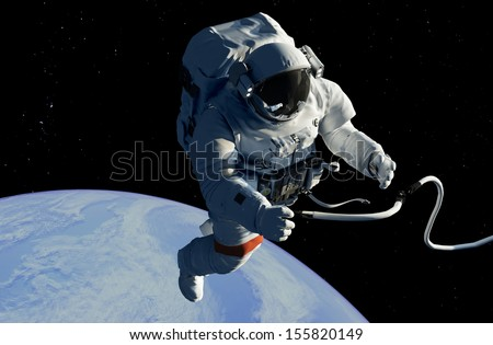 "Astronaut in space against a starry sky..""Elemen ts of this image furnished by NASA"" - stock photo"