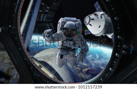 Astronaut in space working on a space station 3D rendering elements of this image furnished by NASA