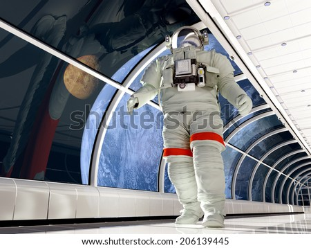 "Astronaut in the tunnels of the spacecraft.""Elemen ts of this image furnished by NASA"" - stock photo"