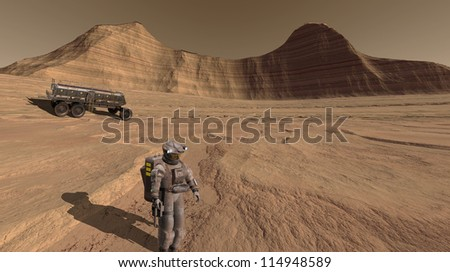 Astronaut inspecting an ancient river-course on Mars - stock photo