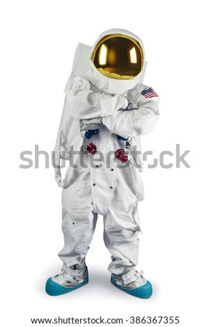 Astronaut isolated on white with his arms crossed - stock photo