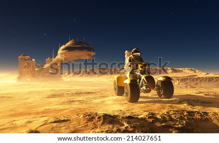 Astronaut near the space station. - stock photo