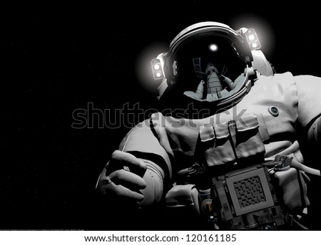 Astronaut on a black background. - stock photo