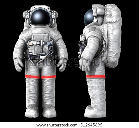 Astronaut on a black background, front and side views. 3D rendering