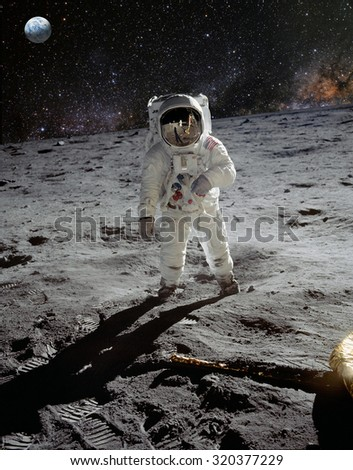 Astronaut on lunar (moon) landing mission. Elements of this image furnished by NASA. - stock photo