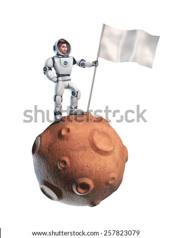 astronaut on meteor holding a blank flag - stock photo
