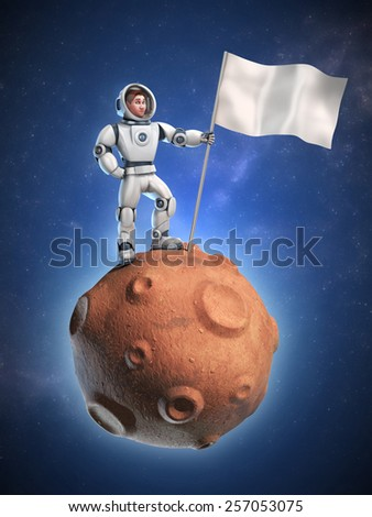 astronaut on meteor holding a flag with copy space - stock photo