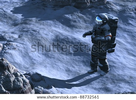 Astronaut on the banks of the world. - stock photo