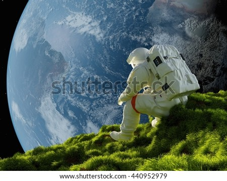 """Astronaut on the grass against the sky""""Elemen ts of this image furnished by NASA"""" , 3d render - stock photo"""