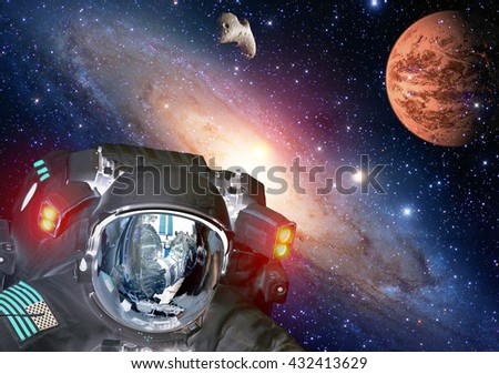 Astronaut planet Mars spaceman helmet space martian alien et extraterrestrial life. Elements of this image furnished by NASA. - stock photo