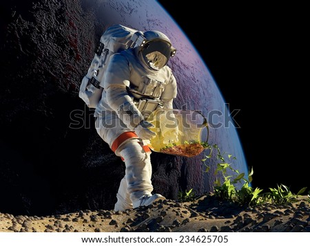 "Astronaut planting grass on the planet. ""Elemen ts of this image furnished by NASA"" - stock photo"