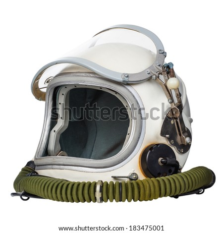 Astronaut's space helmet isolated on a white background.  - stock photo