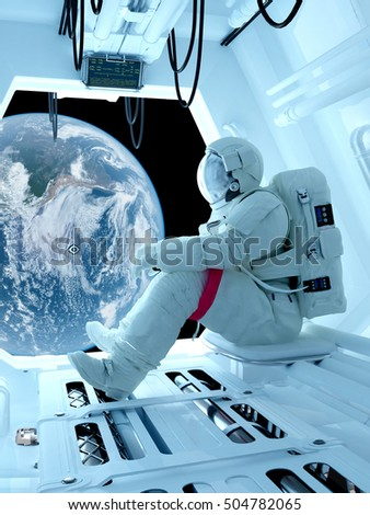 "Astronaut sitting inside .""Elemen ts of this image furnished by NASA"".3d render"