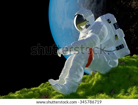 "Astronaut sitting on the grass.""Elemen ts of this image furnished by NASA"" - stock photo"