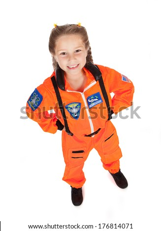 Astronaut: Smiling Young Girl Astronaut
