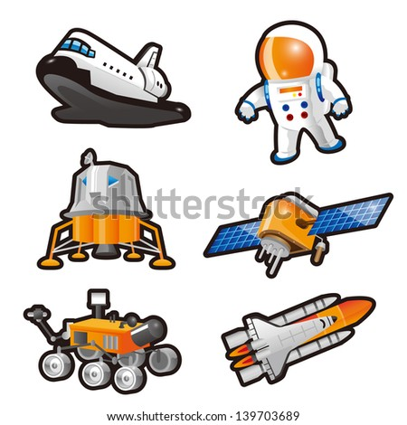 Astronaut,Space Shuttle,Landing craft,Lunar lander and Satellite - stock photo