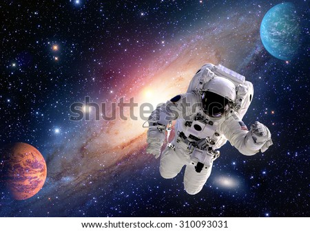 Astronaut spaceman outer space solar system people planet universe. Elements of this image furnished by NASA. - stock photo