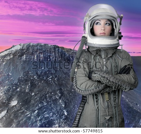 astronaut spaceship aircraft helmet fashion woman mars moon planet [Photo Illustration] - stock photo