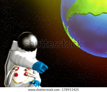 Astronaut that is floating in space    - stock photo