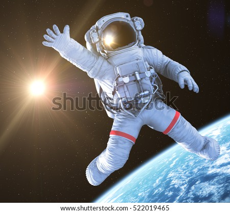 Astronaut waving in outer space, 3d render
