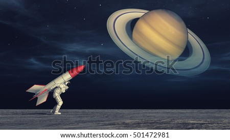 Astronaut with a rocket back getting ready to launch himself to another planet. This is a 3d render illustration