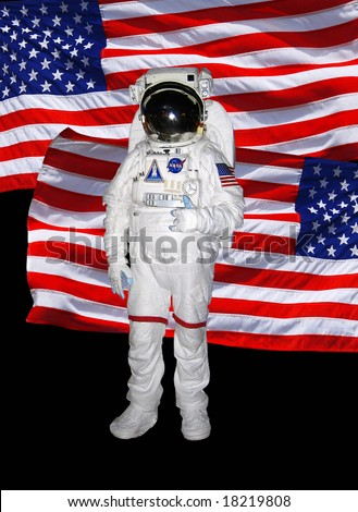 Astronaut with american flag - stock photo