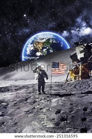 Astronaut with Flag On the Moon - Elements of this Image Furnished by NASA - stock photo