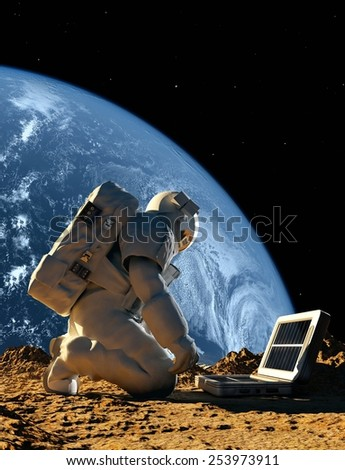 "Astronaut with the device on the planet. ""Elemen ts of this image furnished by NASA"" - stock photo"