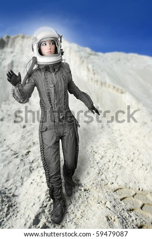 astronaut woman futuristic metaphor moon out space planets [Photo Illustration] - stock photo