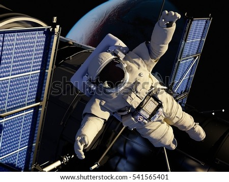 "Astronauts in space around the solar battarei.""Elemen ts of this image furnished by NASA"",3d render"