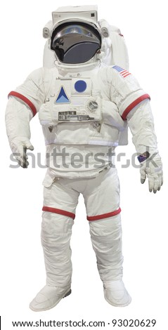 astronauts isolated white - stock photo