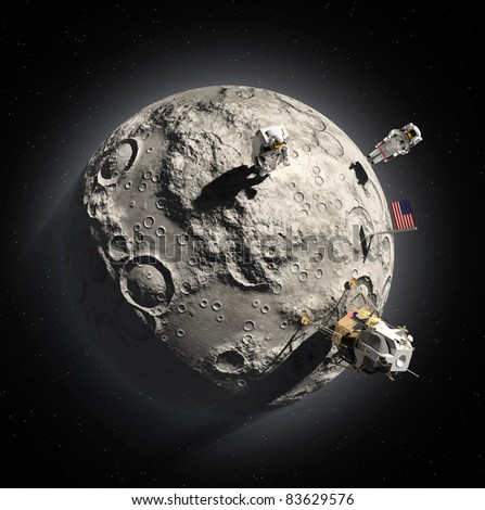 Astronauts on the moon - stock photo