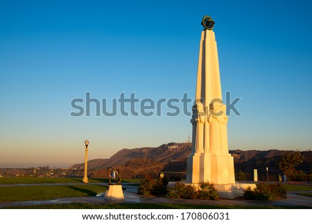 Astronomers Monument in Griffith Park, Los Angeles, California, USA - stock photo