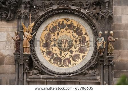 Astronomic clock in Prague, calendar view. - stock photo