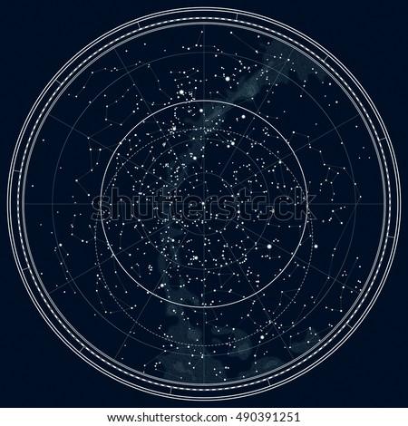 Star Chart Astronomy Free: Astrological Celestial Map Northern Hemisphere Horoscope Stock ,Chart