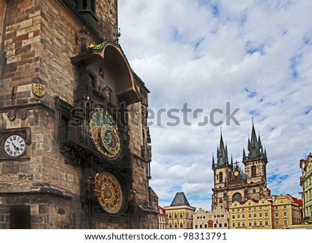 Astronomical clock and the Tyn cathedral, Prague - stock photo